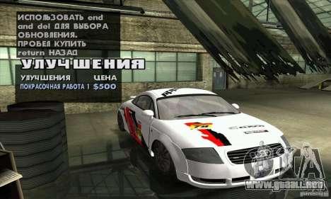 Audi TT Light Tuning para visión interna GTA San Andreas