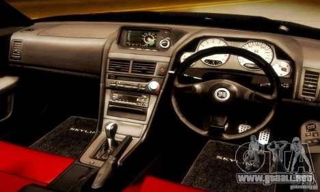 Nissan Skyline GT-R R34 para GTA San Andreas vista hacia atrás