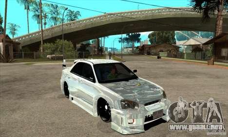 Subaru Impreza Tunned para GTA San Andreas vista hacia atrás
