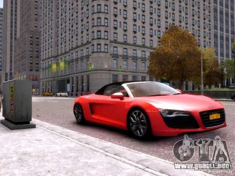 Audi R8 Spyder 5.2 FSI quattro V4 EPM para GTA 4 Vista posterior izquierda
