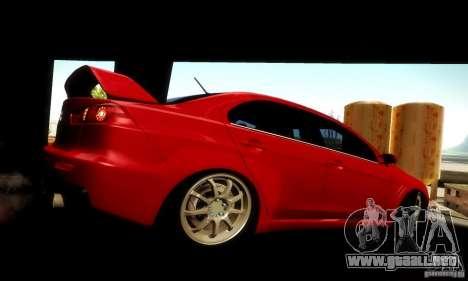 Mitsubishi Lancer Evolution X para GTA San Andreas vista posterior izquierda