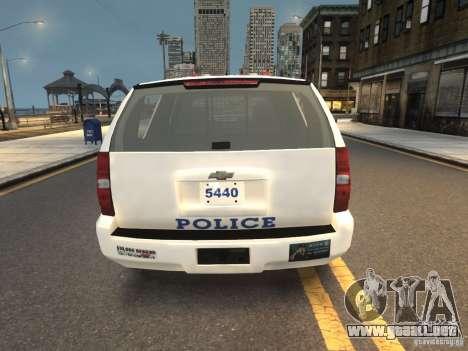 Chevrolet Tahoe NYPD V.2.0 para GTA 4 Vista posterior izquierda