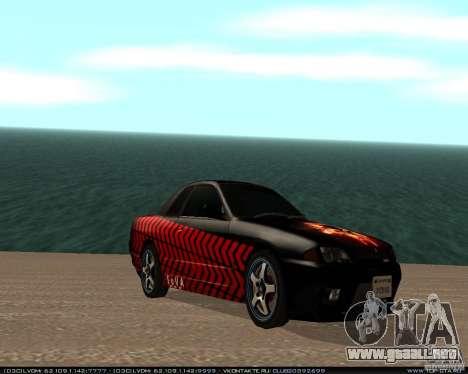 Nissan Skyline R32 GT-R + vinilo 3 para GTA San Andreas vista posterior izquierda