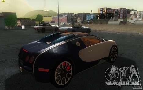 Bugatti Veyron 16.4 Grand Sport Sang Bleu para GTA San Andreas vista posterior izquierda