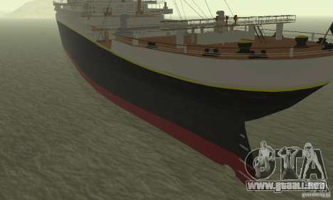 RMS Titanic para GTA San Andreas vista posterior izquierda