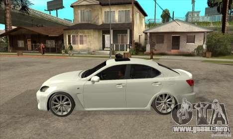 Lexus IS F 2009 para GTA San Andreas vista posterior izquierda