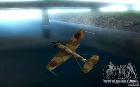 Spitfire para GTA San Andreas vista hacia atrás