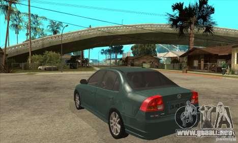 Honda Civic 2005 para GTA San Andreas vista posterior izquierda