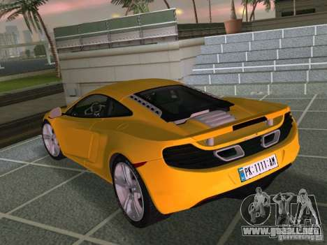 Mclaren MP4-12C para GTA Vice City vista interior