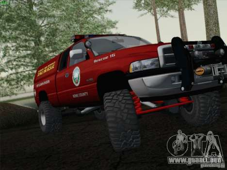 Dodge Ram 3500 Search & Rescue para GTA San Andreas vista posterior izquierda