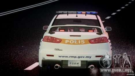 Mitsubishi Evolution X Police Car [ELS] para GTA 4 interior