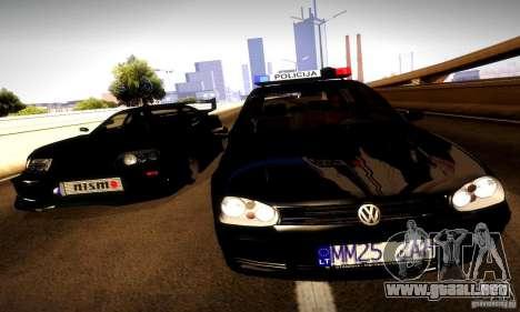 Volkswagen Golf Police para GTA San Andreas vista hacia atrás