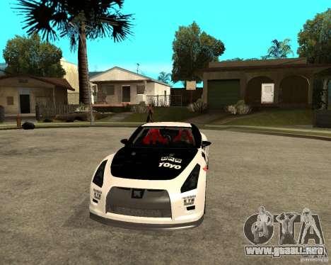 Nissan Skyline R35 para GTA San Andreas vista hacia atrás