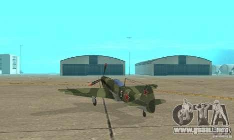 Yak-9 durante la II Guerra Mundial para GTA San Andreas vista posterior izquierda