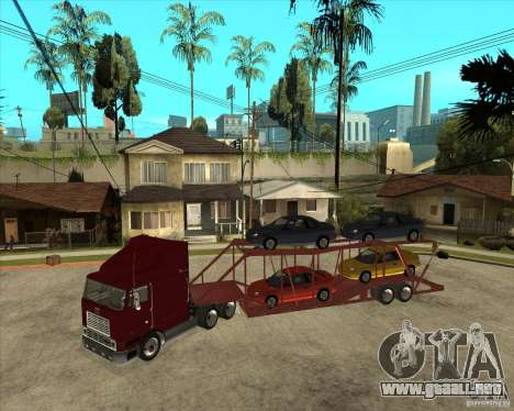 Carro del semi-remolque para GTA San Andreas vista hacia atrás
