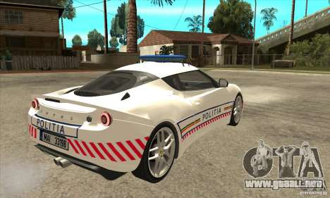 Lotus Evora S Romanian Police Car para la visión correcta GTA San Andreas