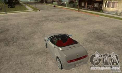 Alfa Romeo Spyder para GTA San Andreas vista posterior izquierda