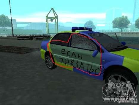 Policía de Mitsubishi Lancer para GTA San Andreas vista hacia atrás