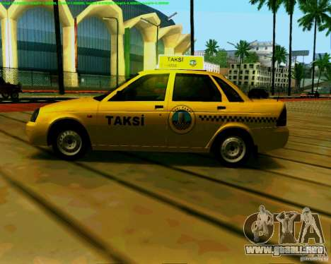 2170 LADA Priora Baki taksi para GTA San Andreas vista posterior izquierda