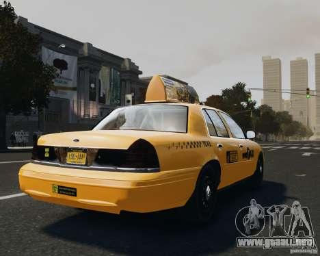 Ford Crown Victoria NYC Taxi 2012 para GTA 4 Vista posterior izquierda