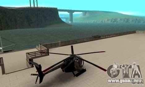 AH-6C Little Bird para GTA San Andreas vista posterior izquierda