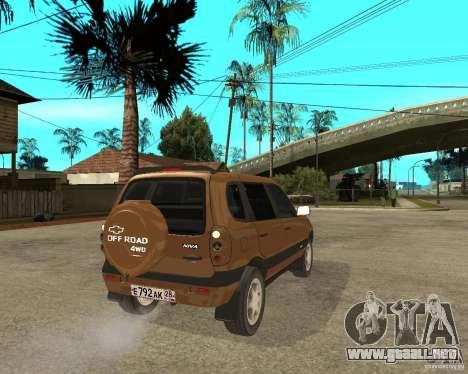 CHEVROLET NIVA Version 2.0 para GTA San Andreas vista posterior izquierda