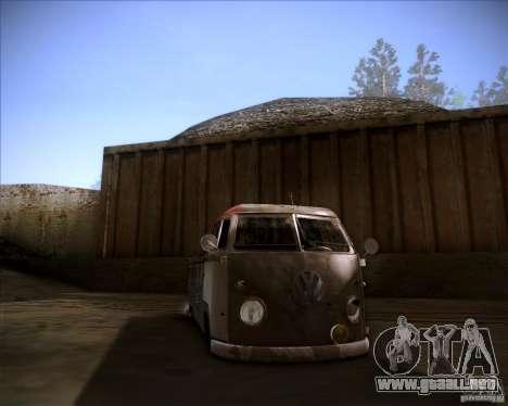 Volkswagen Transporter T1 rat pickup para GTA San Andreas vista hacia atrás