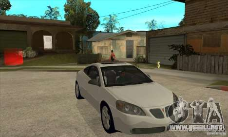 Pontiac G6 Stock Version para GTA San Andreas vista hacia atrás