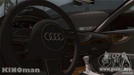 Audi A7 Sportback 2010 para visión interna GTA San Andreas