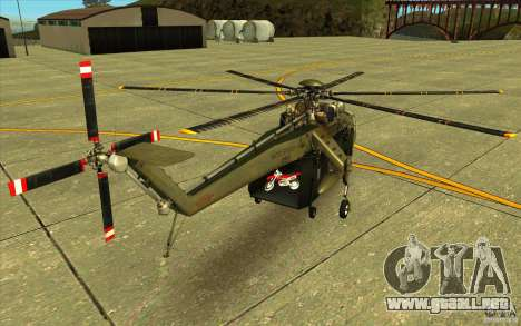 Sikorsky CH-54 Tarhe para GTA San Andreas vista posterior izquierda