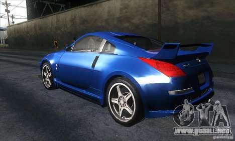 Nissan 350Z Varis para GTA San Andreas vista posterior izquierda