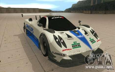Pagani Zonda Racing Edit para GTA San Andreas vista hacia atrás