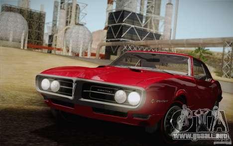 Pontiac Firebird 400 (2337) 1968 para la vista superior GTA San Andreas