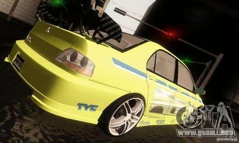 Mitsubishi Lancer Evolution 8 para la visión correcta GTA San Andreas