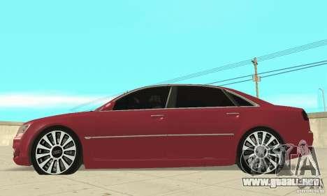 Audi A8L 4.2 FSI para GTA San Andreas vista posterior izquierda