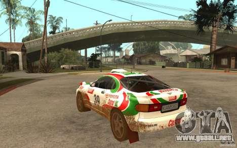 Toyota Celica GT-Four para GTA San Andreas vista posterior izquierda