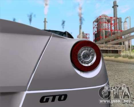 Ferrari 599 GTO 2011 v2.0 para la visión correcta GTA San Andreas