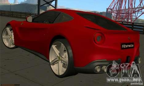 Ferrari F12 Berlinetta BETA para GTA San Andreas vista posterior izquierda