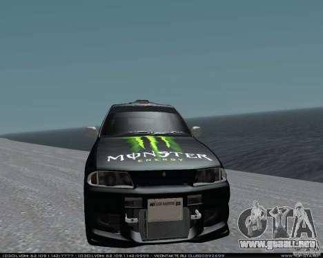 Nissan Skyline R32 GT-R + vinilo 3 para GTA San Andreas vista hacia atrás