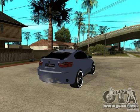BMW X6 M HAMANN para GTA San Andreas vista posterior izquierda