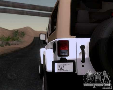Jeep Wrangler Rubicon para GTA San Andreas vista posterior izquierda