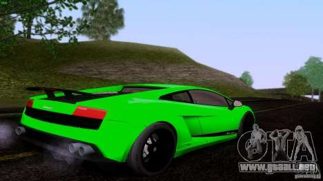 Lamborghini Gallardo LP570-4 Superleggera para GTA San Andreas vista posterior izquierda