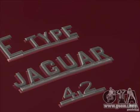 Jaguar E-Type Coupe para GTA San Andreas vista posterior izquierda