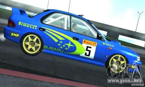 Subaru Impreza 1995 World Rally ChampionShip para GTA San Andreas vista hacia atrás