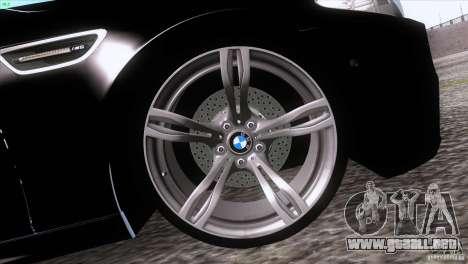 BMW M5 2012 para GTA San Andreas vista posterior izquierda