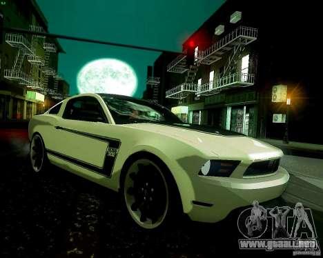 Ford Mustang Boss 302 2011 para GTA San Andreas vista hacia atrás