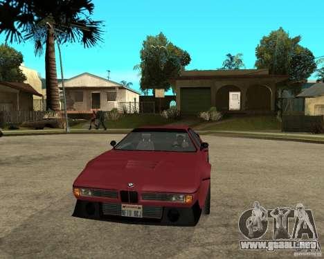 BMW M1 para GTA San Andreas vista hacia atrás