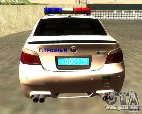 BMW M5 E60 policía para GTA San Andreas vista posterior izquierda