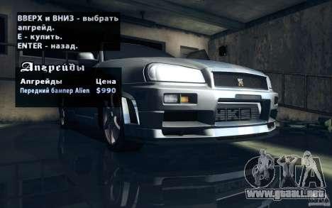 Nissan Skyline GTR R34 VSpecII para vista inferior GTA San Andreas