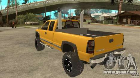 Chevrolet Silverado 2500 Lifted para GTA San Andreas vista posterior izquierda